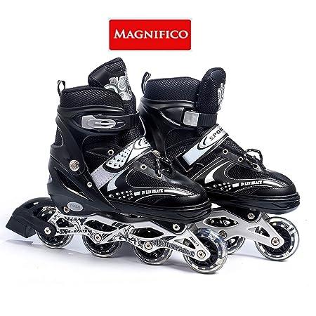 MAGNIFICO Super Quality Inline Skating Adjustable Shoes 4 Wheeler (Size 38-43)