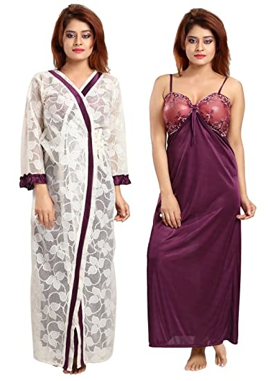383b02f341 Be You Fashion Women Power Net-Satin Violet Self Design Style 2 Piece  Nighty Set  Amazon.in  Clothing   Accessories