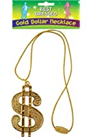 Gold Dollar Sign Necklace Fancy Dress Costume 70s 80s Rapper Pimp Accessory New