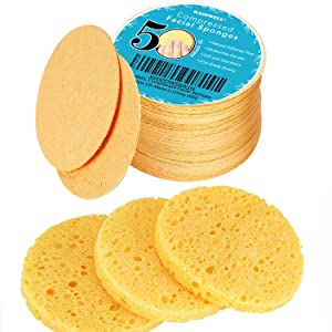 50-Count Compressed Facial Sponges, GAINWELL Cellulose Facial Sponges, 100% Natural Cosmetic Spa Sponges for Facial Cleansing, Exfoliating Mask, Makeup Removal