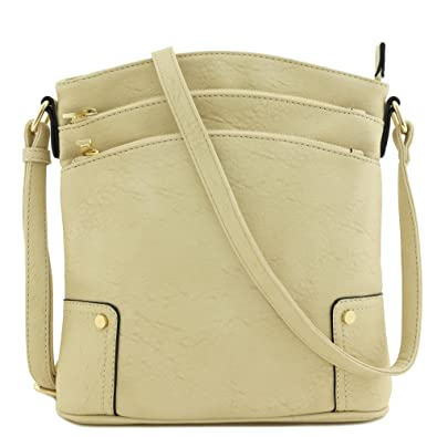 c11d55816bd Image Unavailable. Image not available for. Color  Triple Zip Pocket Large  Crossbody Bag (Beige)