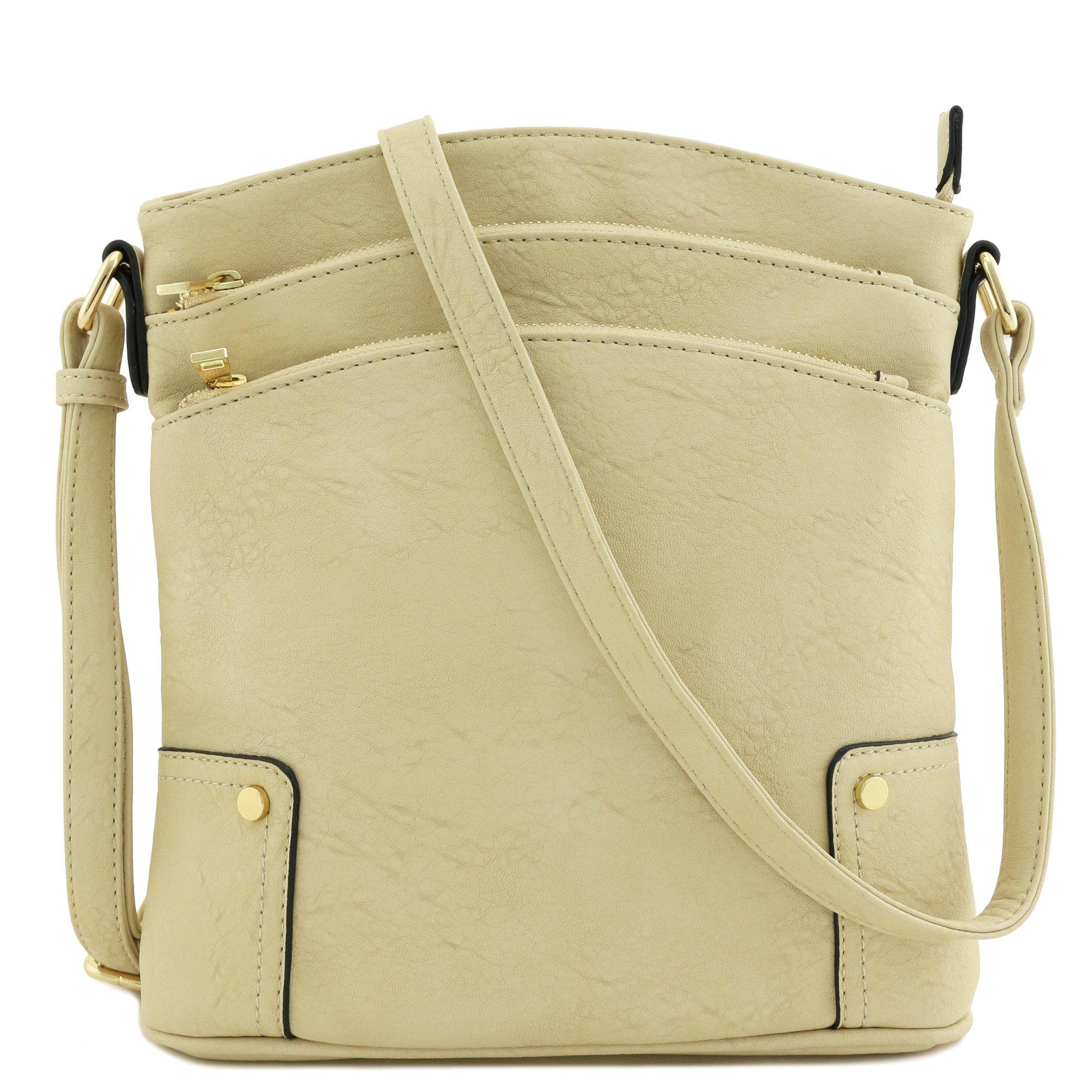 Triple Zip Pocket Large Crossbody Bag (Beige) by Alyssa