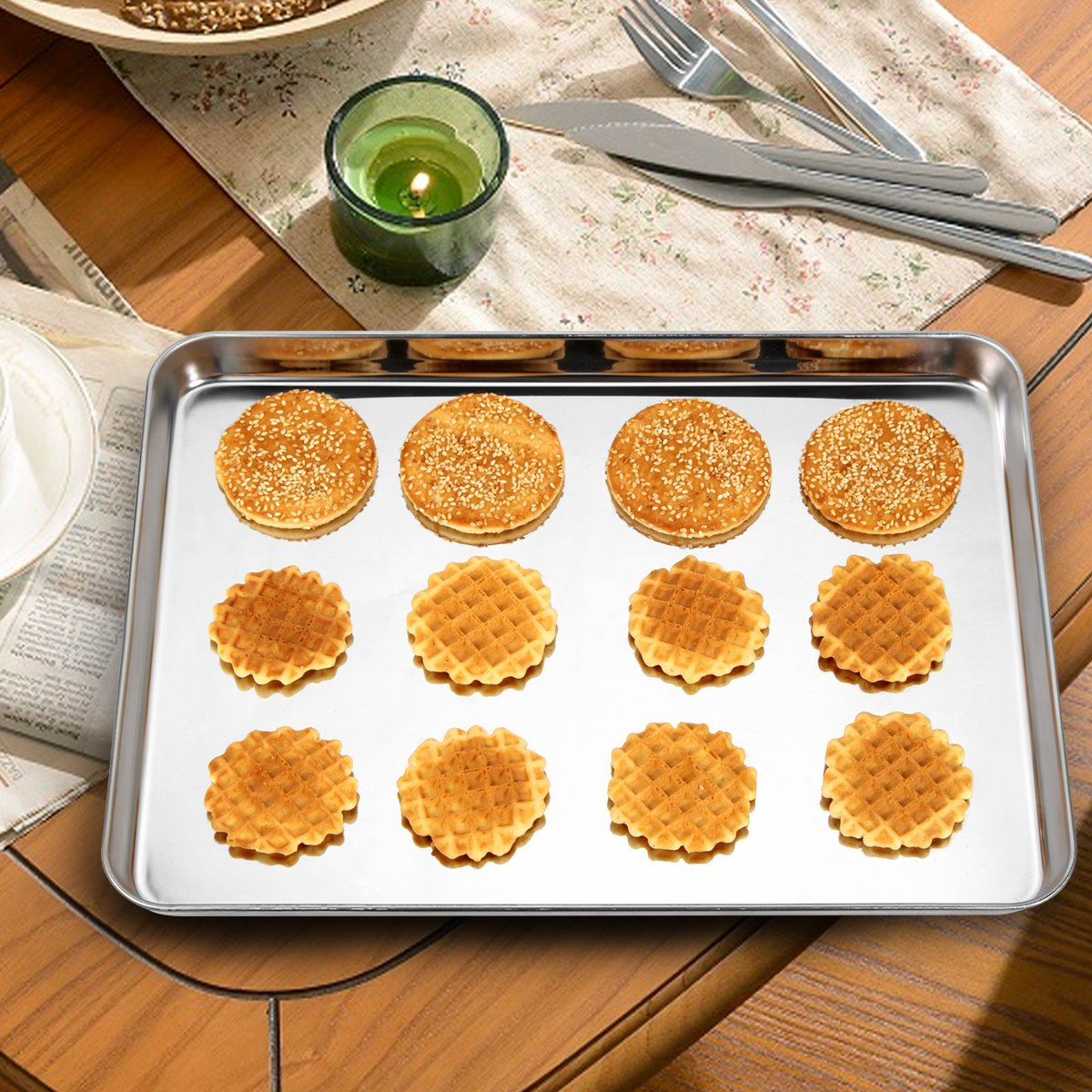 Baking Sheets Set of 3, HKJ Chef Baking Pans 3 Pieces & Stainless Steel Cookie Sheets & Toaster Oven Tray Pans, Non Toxic & Healthy, Mirror & Easy Clean by HKJ Chef (Image #6)