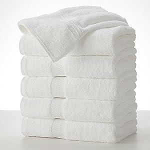 COMMERCIAL PREMIUM 6 PIECE BATH TOWEL SET BY MARTEX - 6 Bath Towels, Home, Business, Shower, Tub, Gym, Pool - Machine Washable, Absorbent, Professional Grade, Hotel Quality - WHITE