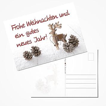 Text Frohe Weihnachten Und Ein Gutes Neues Jahr.50 Stück Weihnachtspostkarten Set Postkarten Rot Weiß Natur Braun