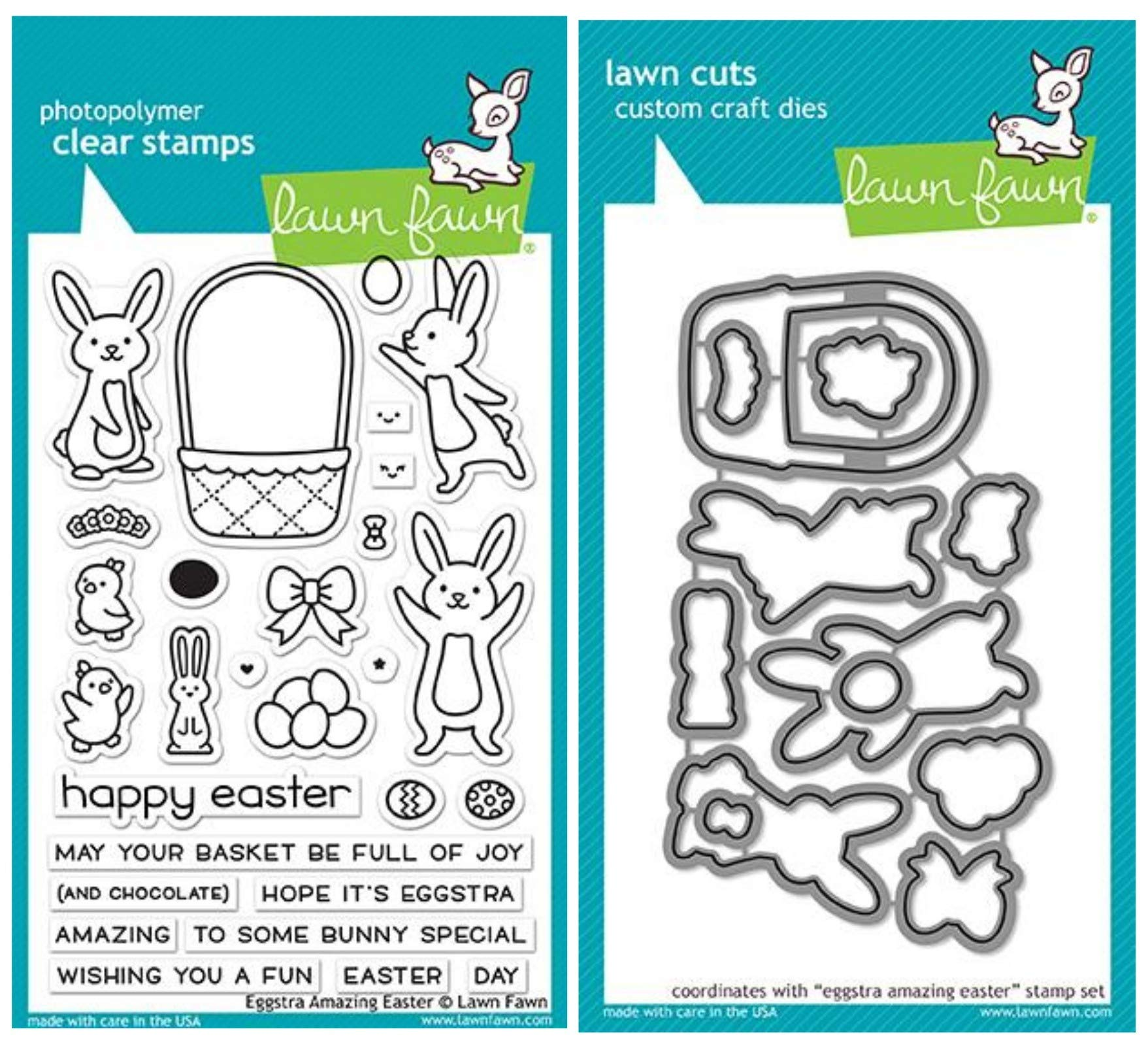 Lawn Fawn Eggstra Amazing Easter 4''x6'' Clear Stamp Set and Matching Lawn Cut Dies (LF1884, LF1885), Bundle of Two Items
