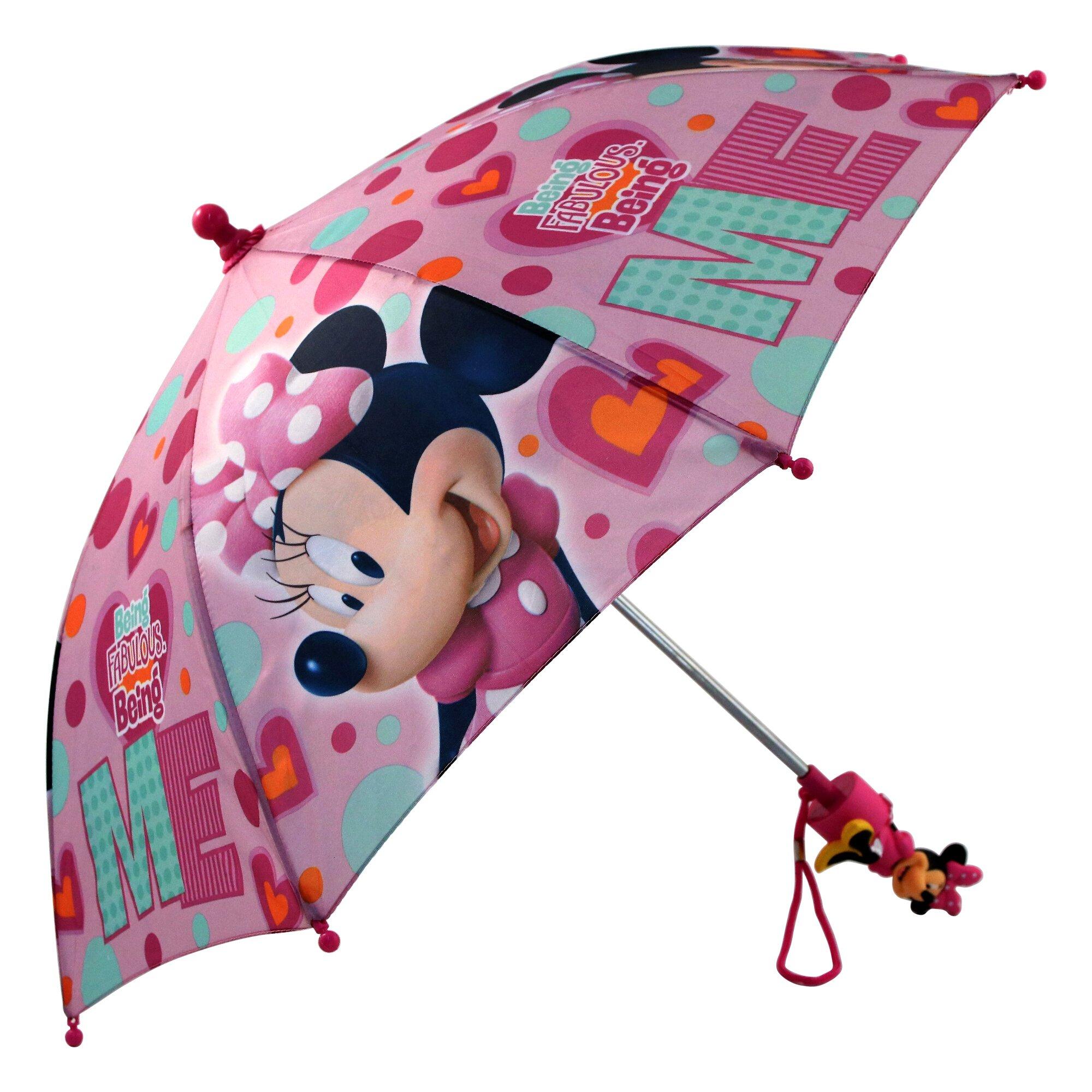 Disney Little Girls' Minnie Mouse Character Rainwear Umbrella, Pink, Age 3-7