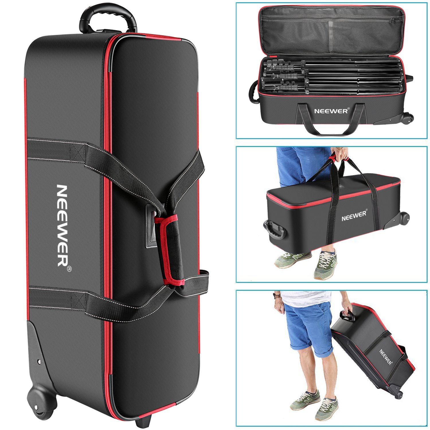 Neewer Photo Studio Equipment Trolley Carry Bag 30'x11'x11'/77x28x27cm with Straps Padded Compartment Wheel, Handle for Light Stand, Tripod, Strobe Light, Umbrella, Photo Studio and Other Accessories 10087969