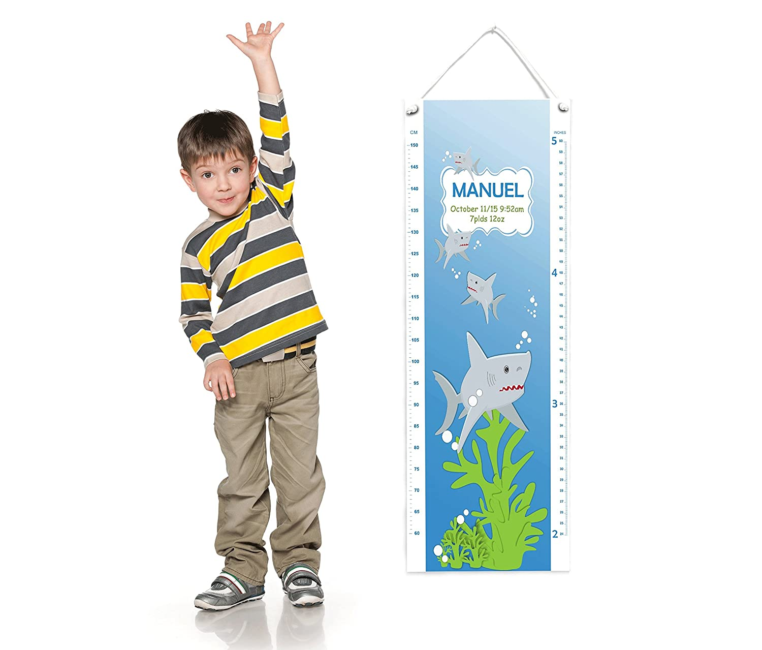 Personalized Growth Chart Art for Children Sharks Themed Baby Shower Gift