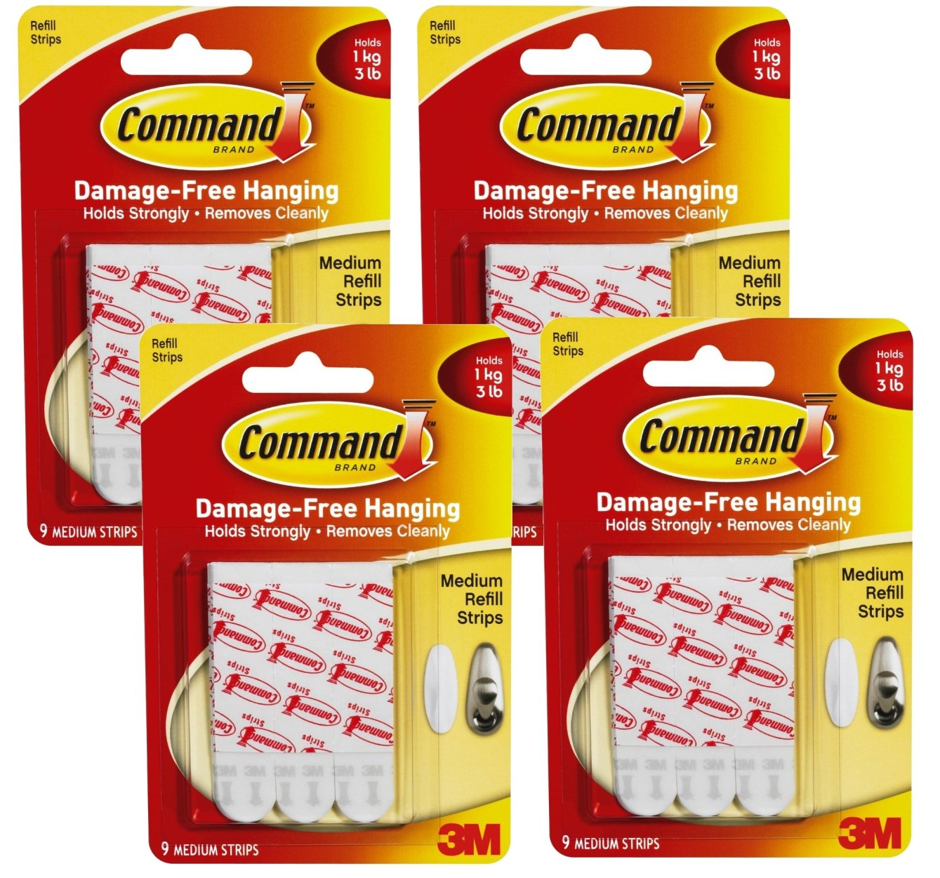 Command Medium Mounting Refill Strips, 9-Strip , Pack of 4