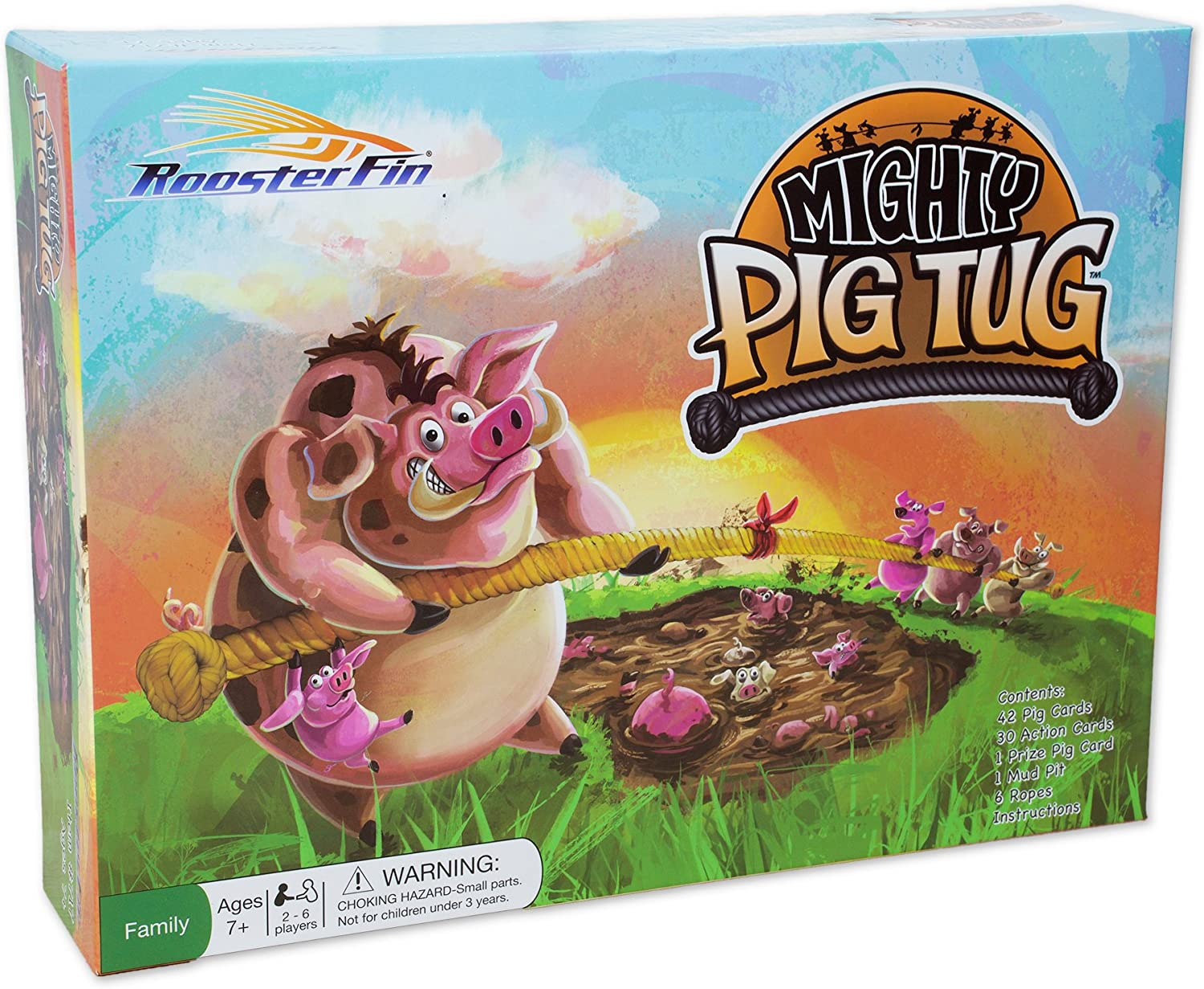 RoosterFin - Mighty Pig Tug Family Board Game - Card Game of Tug of War with a Team - Teacher Created Educational Fun for All Kids and Adults 7 and Up, RSF717