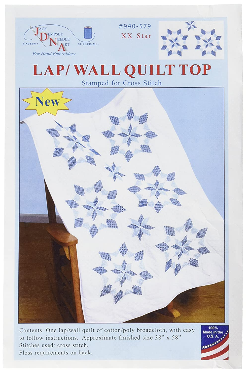 White 40 x 60 XX Star Jack Dempsey 940-579 Stamped Lap Quilt Top