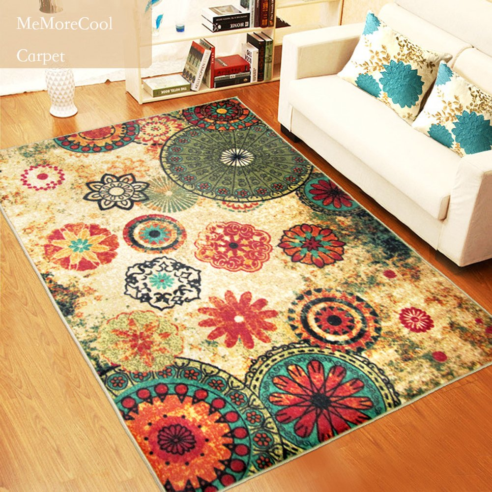 Washable Area Rugs Living Room: Retro Living Room Rug Floor Carpet Home Decor Washable