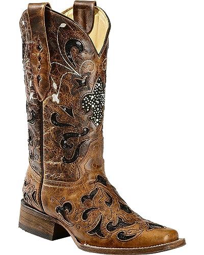 bcf9311e752 CORRAL Women's Sequence Fleur De Lis Cowgirl Boot Square Toe - A2840