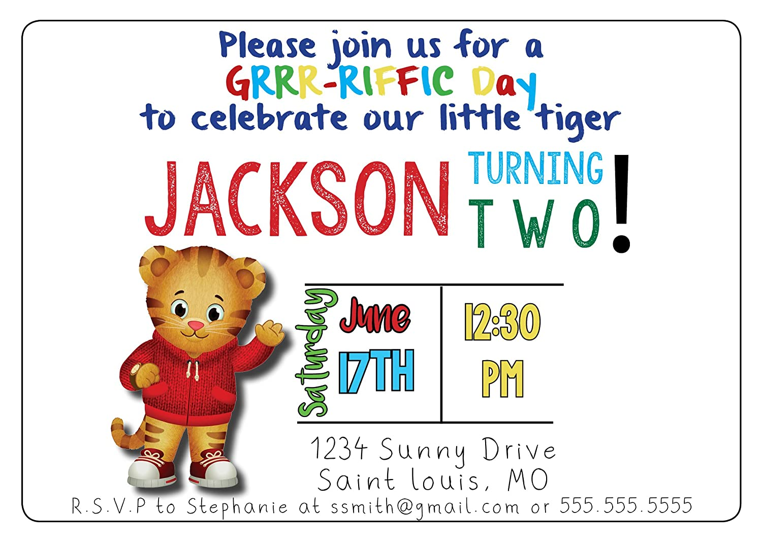 Amazon.com: Custom Birthday Party Invitation - Daniel Tiger ...