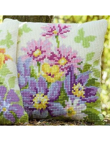 Vervaco - Cojín de punto de cruz (diseño de flores en color pastel, tela