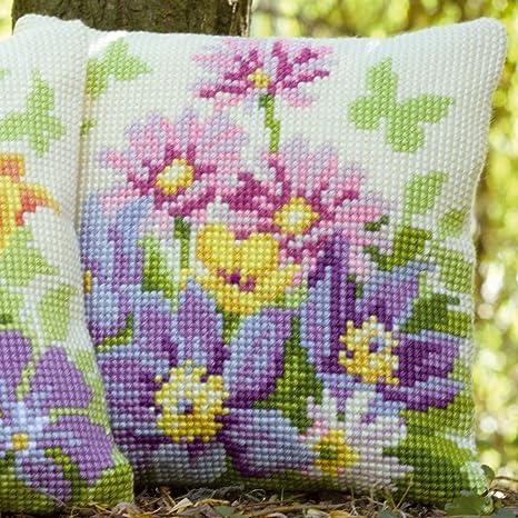 Amazon.com: Vervaco – Kit para pastel flores cojín de punto ...