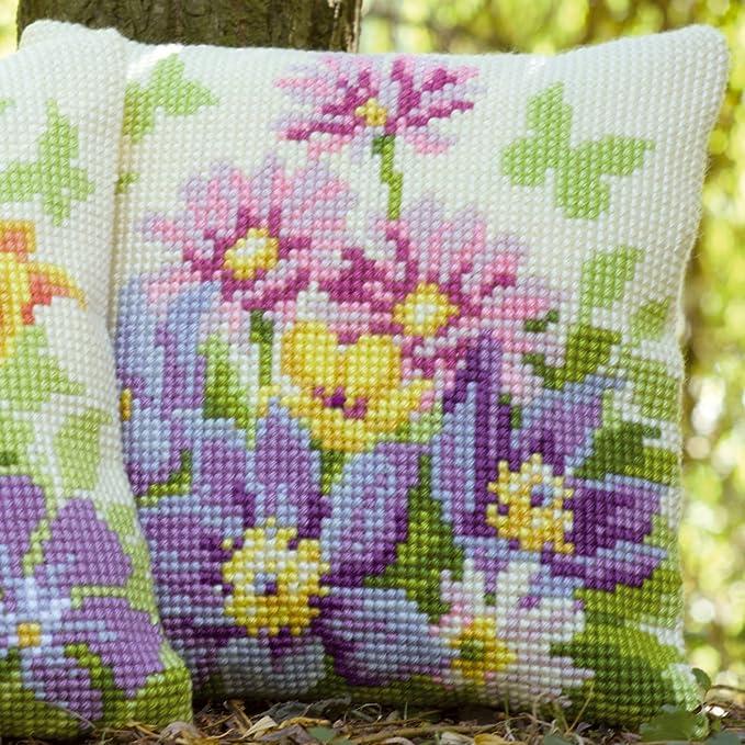 Amazon.com: Vervaco Pastel Flowers Cross Stitch Cushion ...