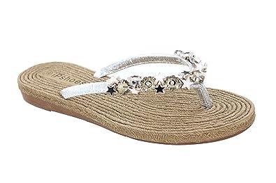 b04a8edb0d8b Helens Heart Women s Casual Jewelled Star Flip Flop in Silver