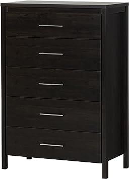 Amazon Com South Shore Gravity Collection 5 Drawer Dresser Ebony
