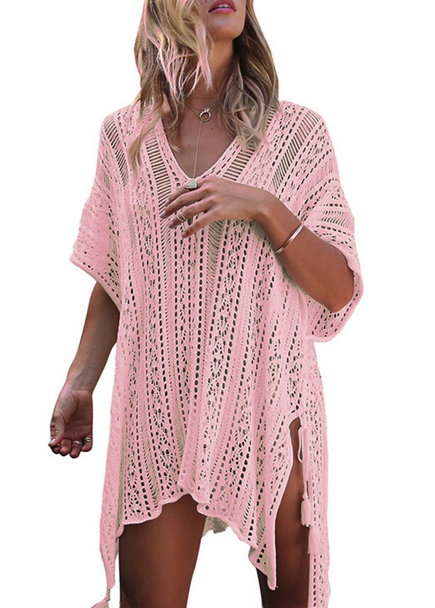 Wander Agio Beach Swimsuit For Women Sleeve Coverups Bikini Cover Up Slit Pink