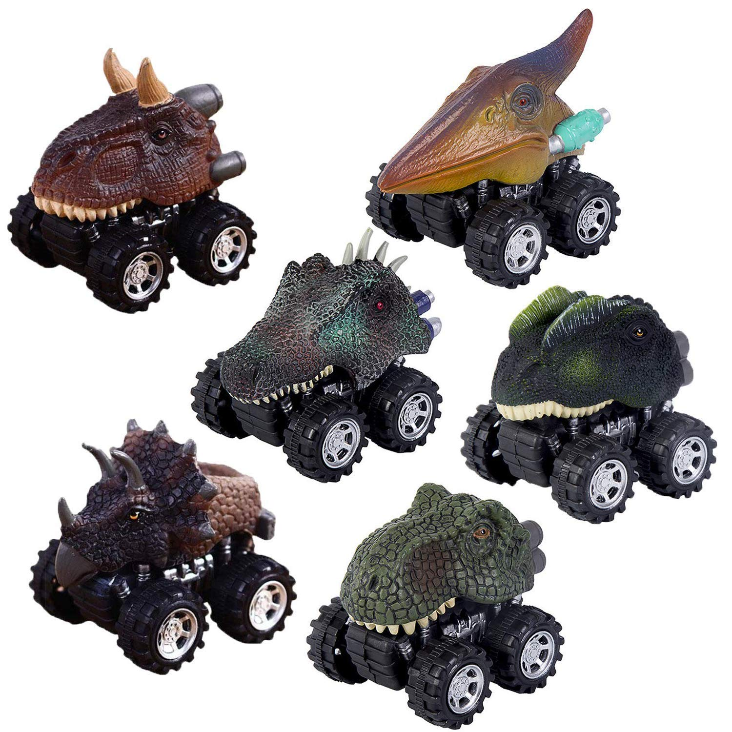 Valleycomfy 6 Pack Pull Back Dinosaur Cars Toys Toys for 2-9 Year Old Boys - Dinosaur Vehicles Toys with Big Tire Wheel for Kids Toddlers Party Supplies Favors