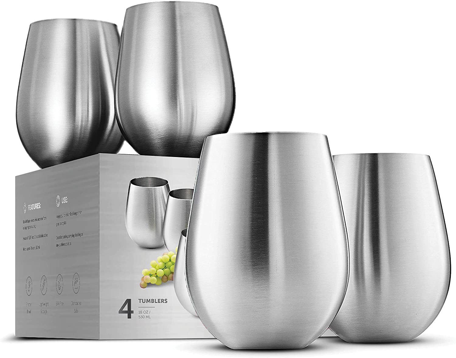 Stainless Steel Stemless Wine Glasses Home Kitchen Camping Drinkware Tumbler