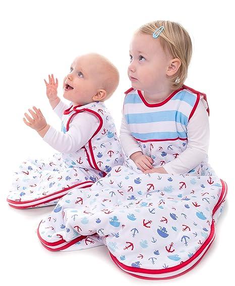 Snoozebag Barcos y anclas 100% algodón 2.5 Tog Unisex guardería cremallera lateral bebé saco de