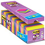 Post-it Super Sticky Lot de 24 Blocs de Notes repositionnables 76 x 76 mm Néon
