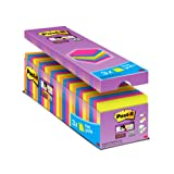 Post it Notes 76 x 76 mm Super Sticky Notes Value Pack, Assorted Colours, Pack of 24 (90 Sheets Per Pad)