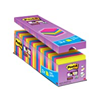 Post it Notes 76 x 76 mm Super Sticky Notes Value Pack, Assorted Colours, Pack of 24, (90 Sheets Per Pad)