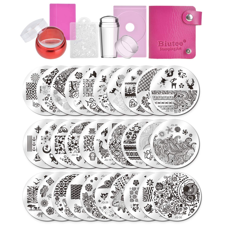 Biutee 15pcs Plaque Stamping Nail Art avec Stamper Grattoir Sac de Rangement Modèle Image Lignes LOVE Fleurs Feuilles TOOL-AT-777