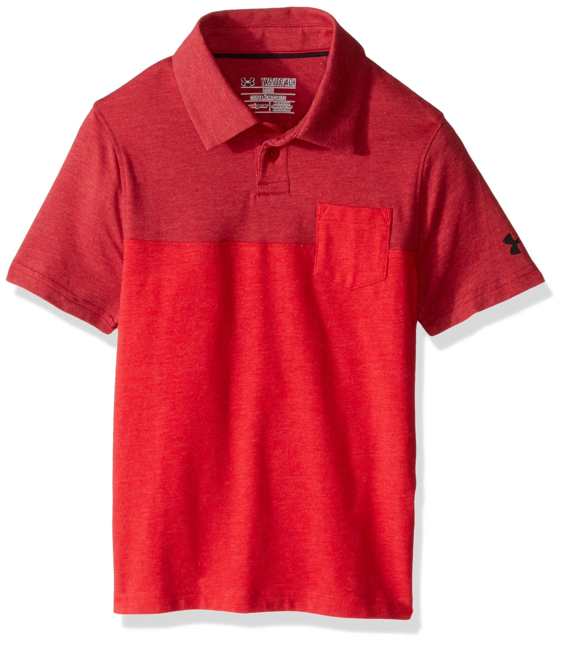Under Armour Boys' Charged Cotton Blocked Polo, Red (600)/Black, Youth Medium by Under Armour