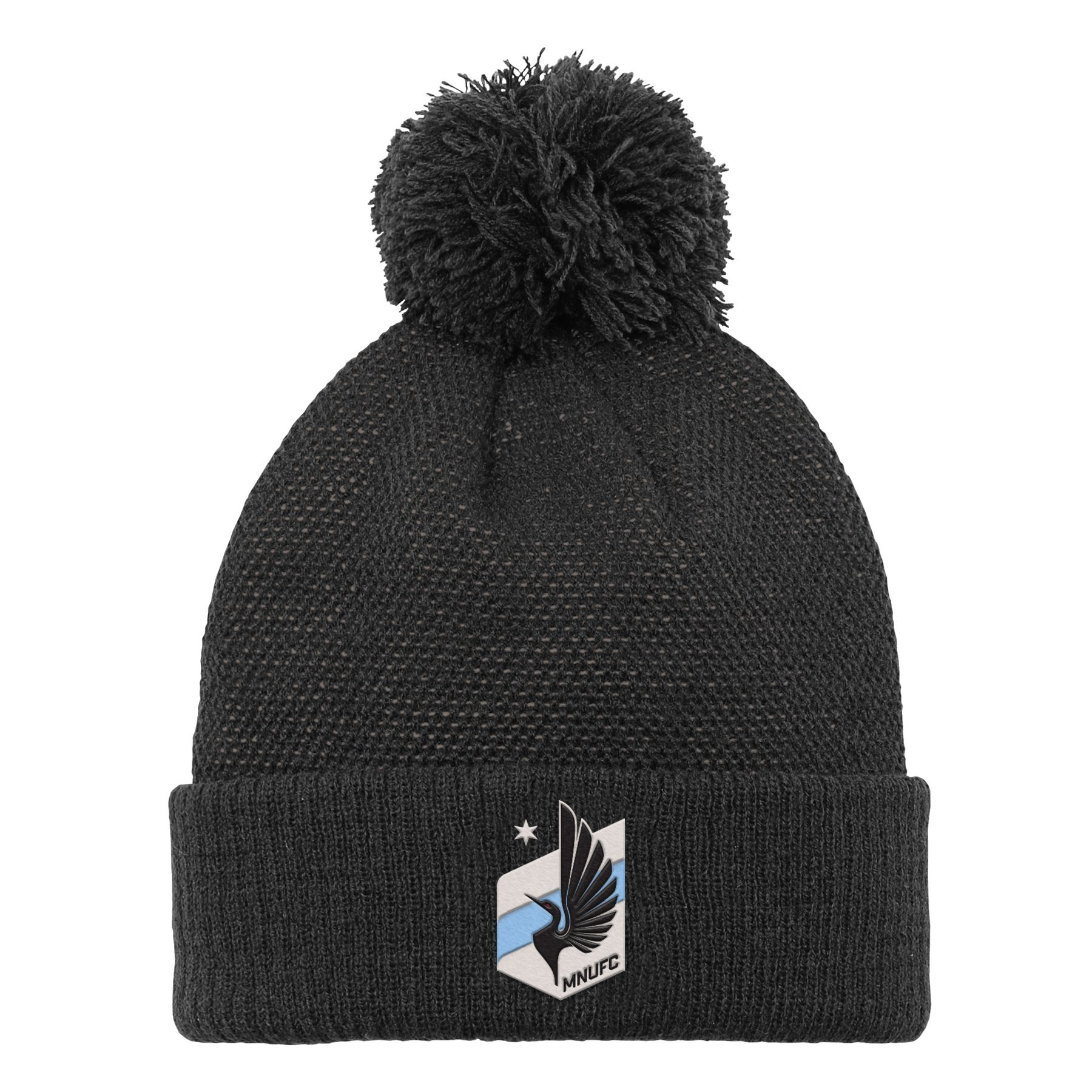 MLS Minnesota United R S8FMS Youth Boys Cuffed Knit Hat with Pom, One Size (8), Black