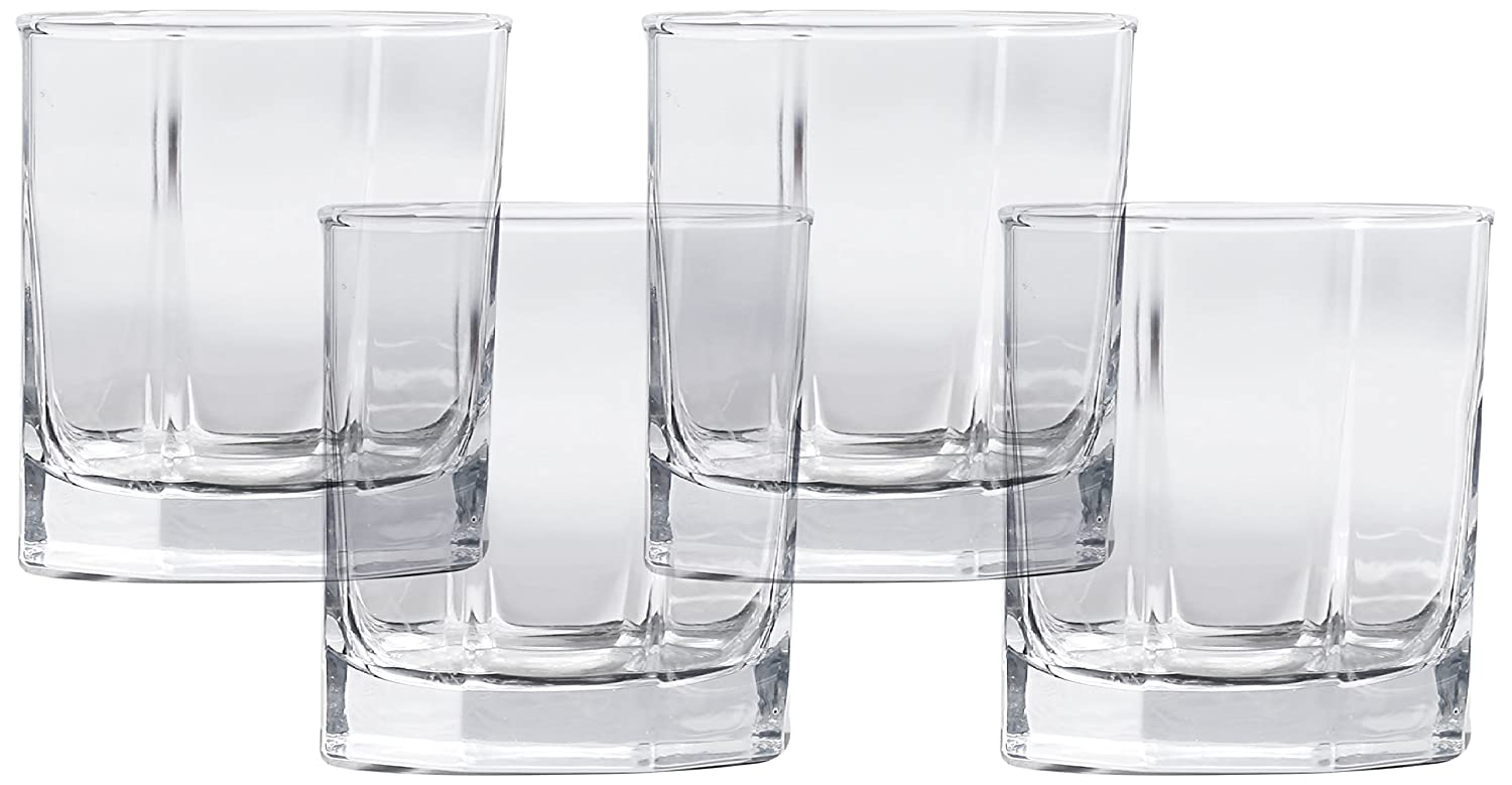 Circleware Optic Baldwin Double Old Fashioned Whiskey Glasses, Set of 4, 10 oz, Clear 44342