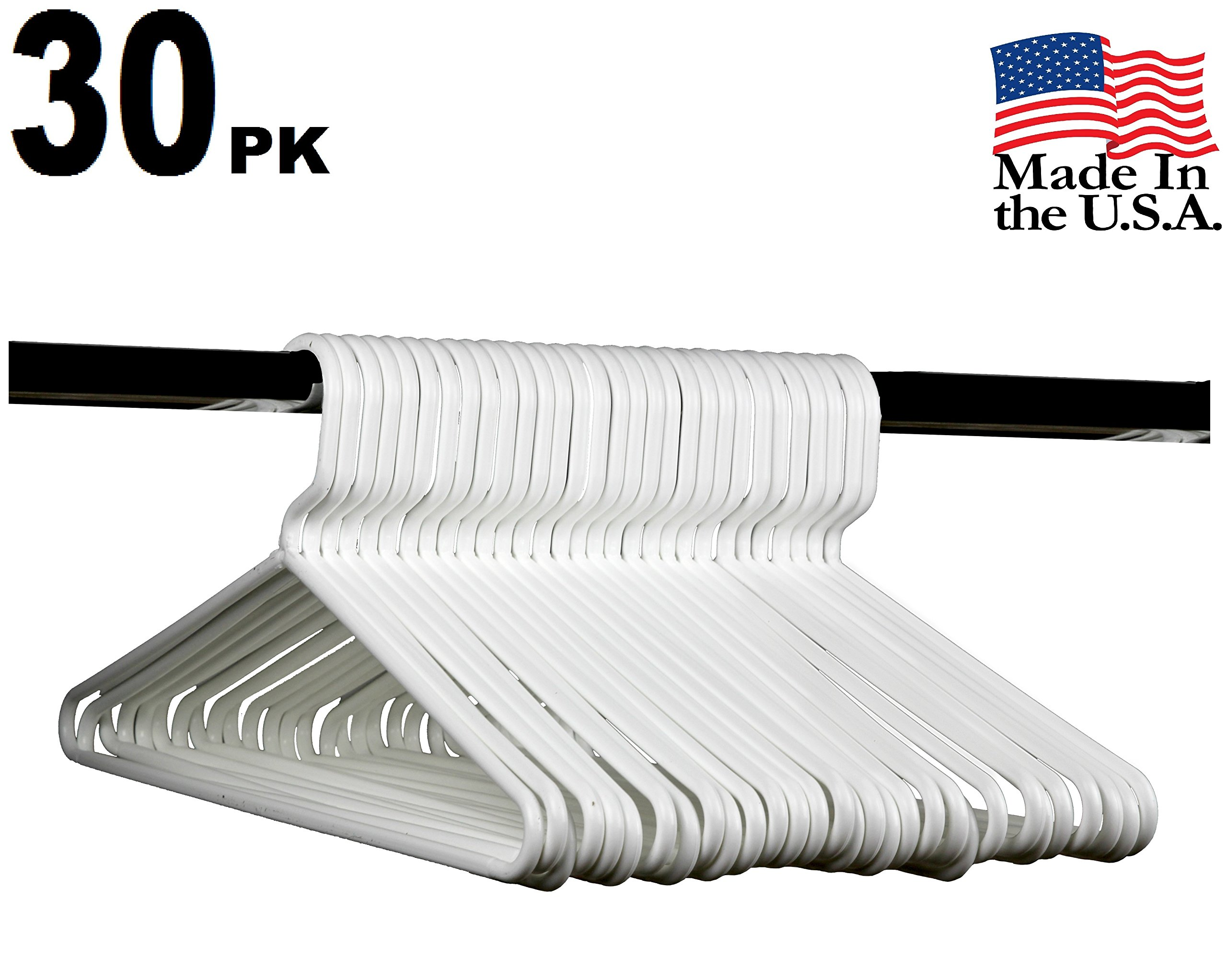 Best Durable Everyday Heavy-Duty Adult Thick Plastic Clothing Tubular Hangers - No Hooks, USA Made (Set of 30 Bright White)