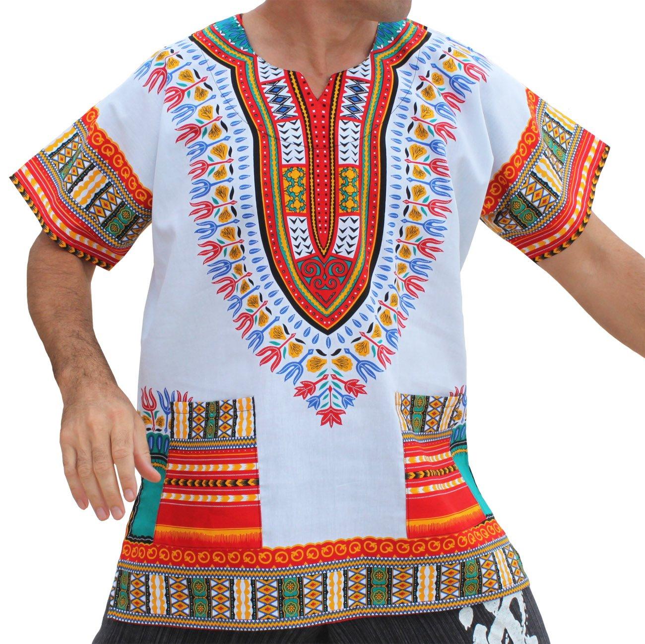 RaanPahMuang Brand Unisex Bright African White Dashiki Cotton Shirt #82 Red XX-Large