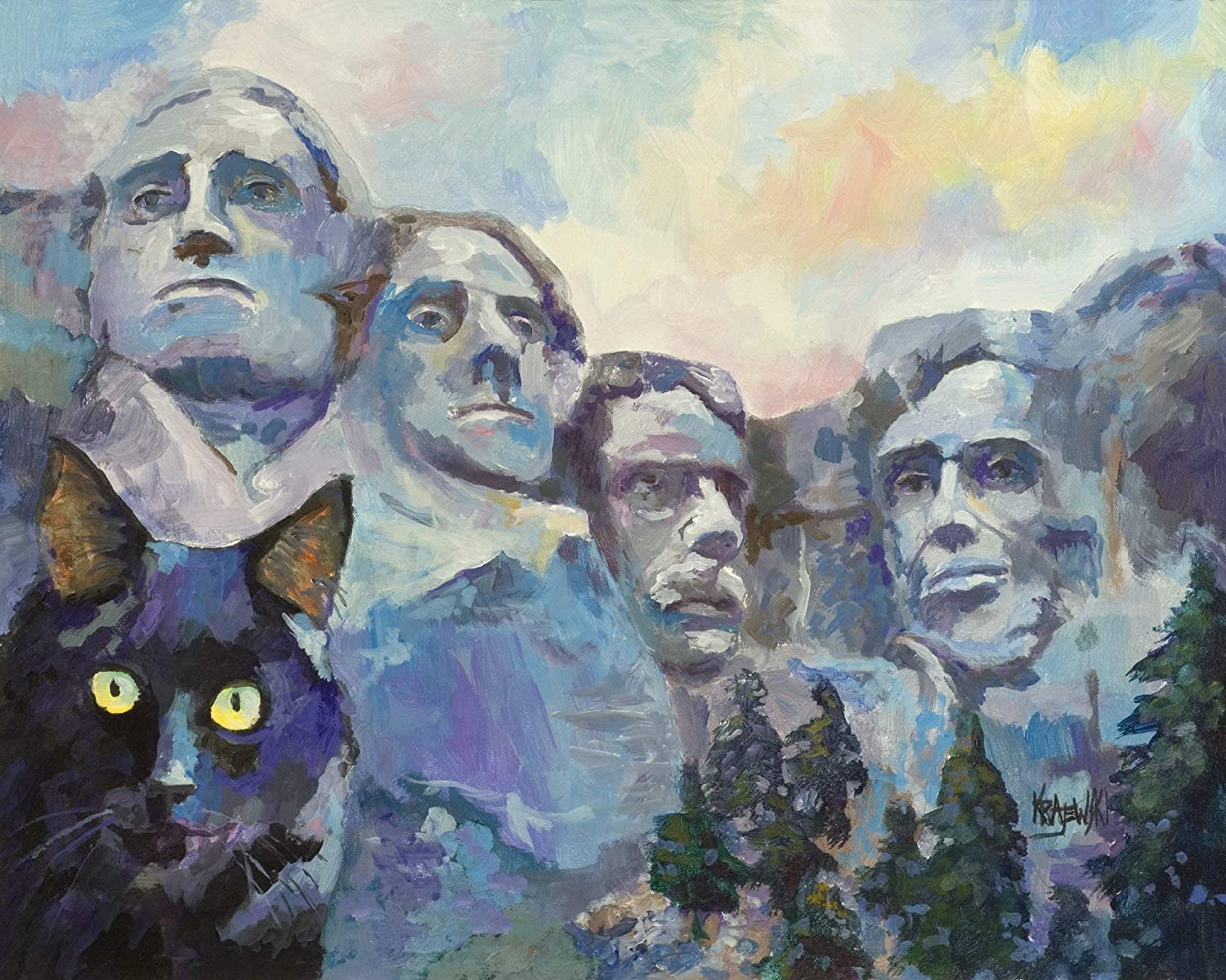 """Black Cat at Mt. Rushmore Art Print 