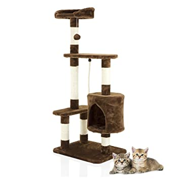cbba09d07661 Cozy Pet Deluxe Multi Level Cat Tree Scratcher Activity Centre Scratching  Post Toys with Heavy Duty Sisal in Chocolate CT10-Choc: Amazon.co.uk: Pet  Supplies