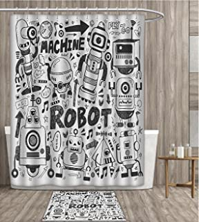 Robot Shower Curtain Waterproof Futuristic Space Doodle Style Androids Sci Fi Pattern Fantasy Machine Art Print