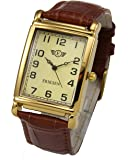 Eriksen Men's Rectangular Analog Quartz Dress Watch with Leather Strap MCG