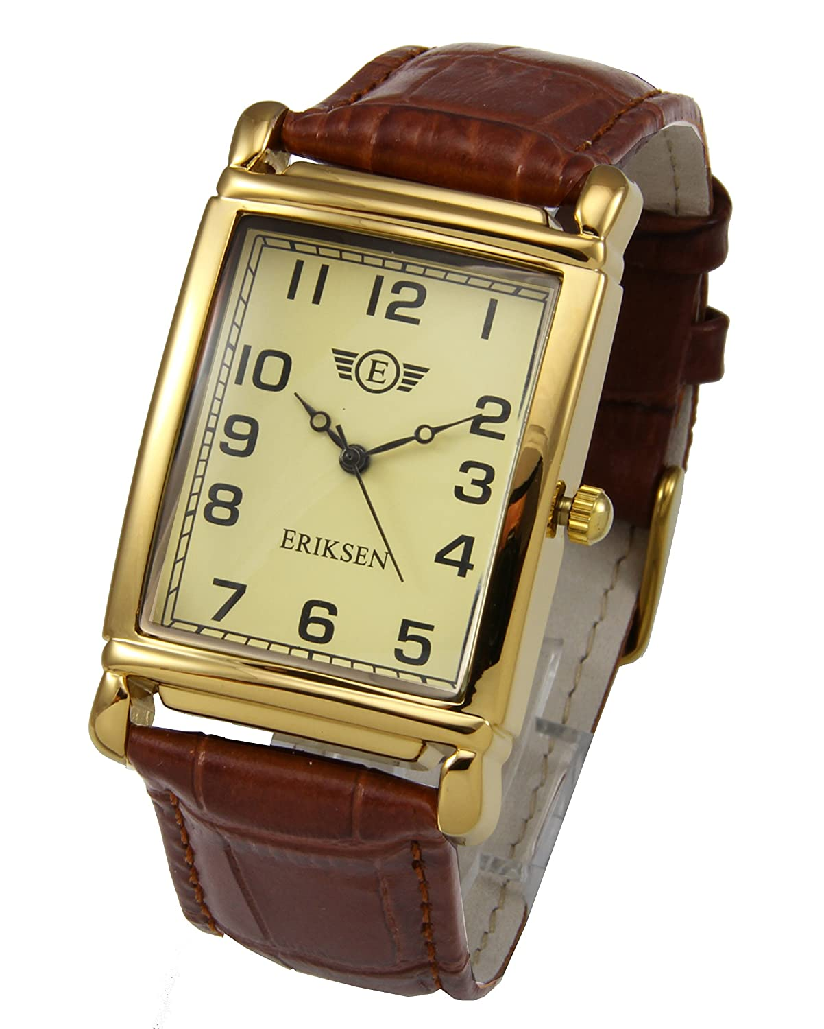 dial strap armani men watch s brown emporio rectangular watches mens image