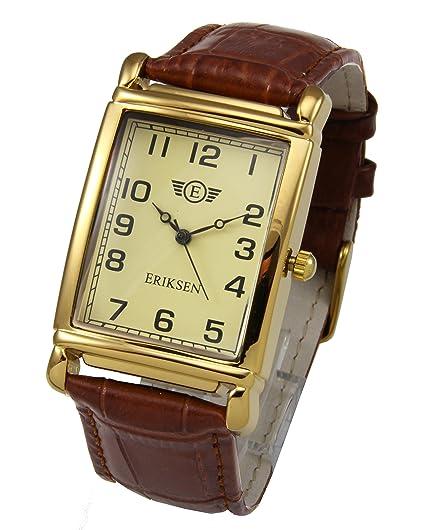 a70ef2a9153a1 Eriksen Men's Rectangular Analog Quartz Dress Watch with Leather Strap MCG:  Amazon.co.uk: Watches