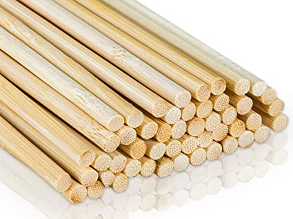 Bamboo Shop Extra Long Dowel Craft Sticks Food Grade Rods 155 Inch X Approx 316 Inch Diam Give Or Take 364 Inch 48 Pcs Natural Unfinished Wood For