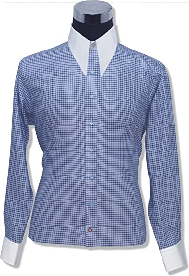WhitePilotShirts Camisa clásica de los años 1930, con Cuello de Punto de Lanza de los años 50, Color Azul, 100% algodón 200-03 - - 44: Amazon.es: Ropa y accesorios
