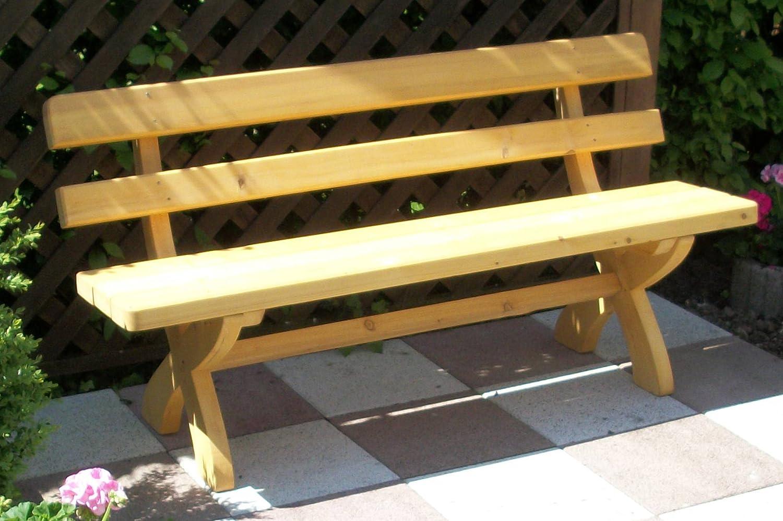 Massivholz Gartenbank, Kiefer voll massiv 50mm stark , 150cm breite ...