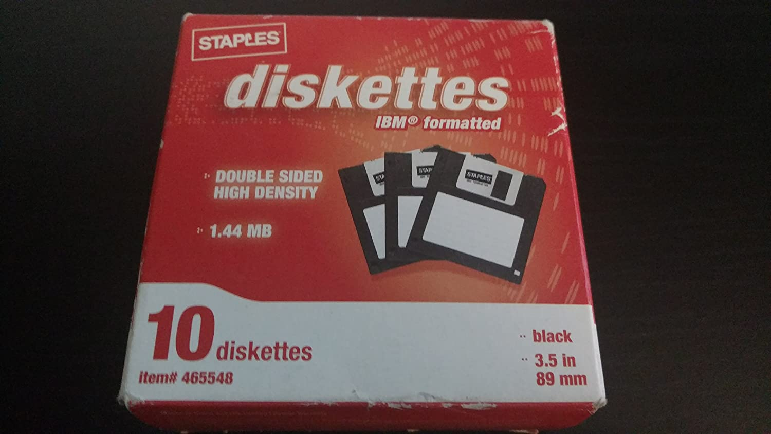 Black Pack of 10 Staples/® 3.5 Formatted Diskettes IBM DS-HD