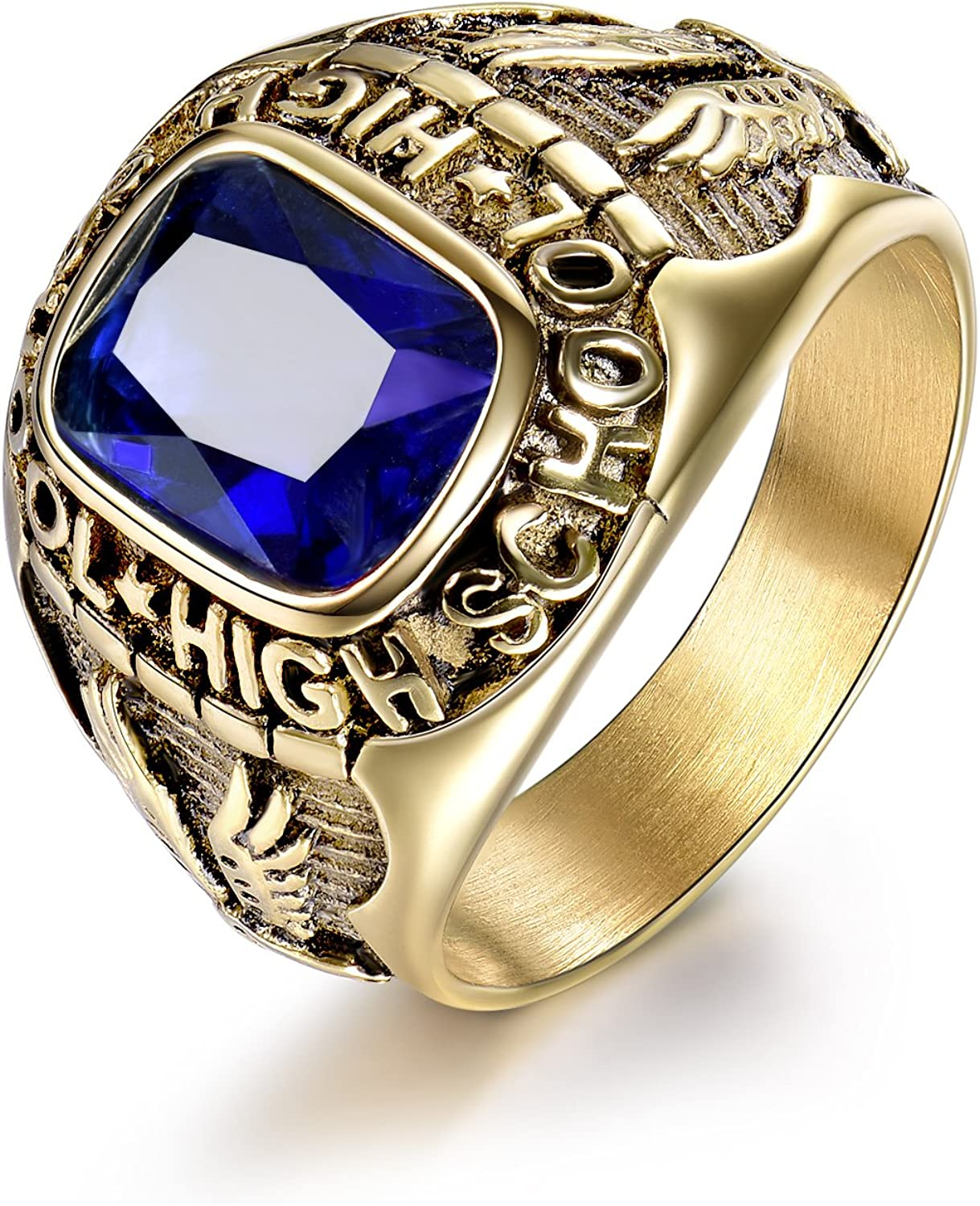 MASOP Royal Blue Sapphire Color Ring Stainless Steel Men Jewelry Celebrate High School Rings Size 8-15