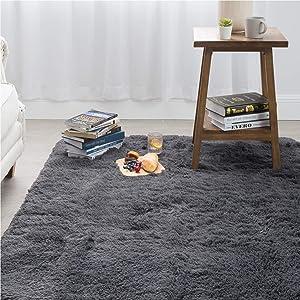 Bedsure Fluffy Shag Area Rug for Bedroom, Grey Plush Living Room Carpet 4 x 5.3 Feet, Fuzzy Nursery Shaggy Rugs for Kids Room