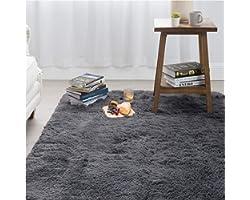 Bedsure Shag Area Rugs for Bedroom, Grey Fluffy Rug Plush Living Room Carpet 4 x 5 Feet, Fuzzy Nursery Shaggy Rugs for Kids R